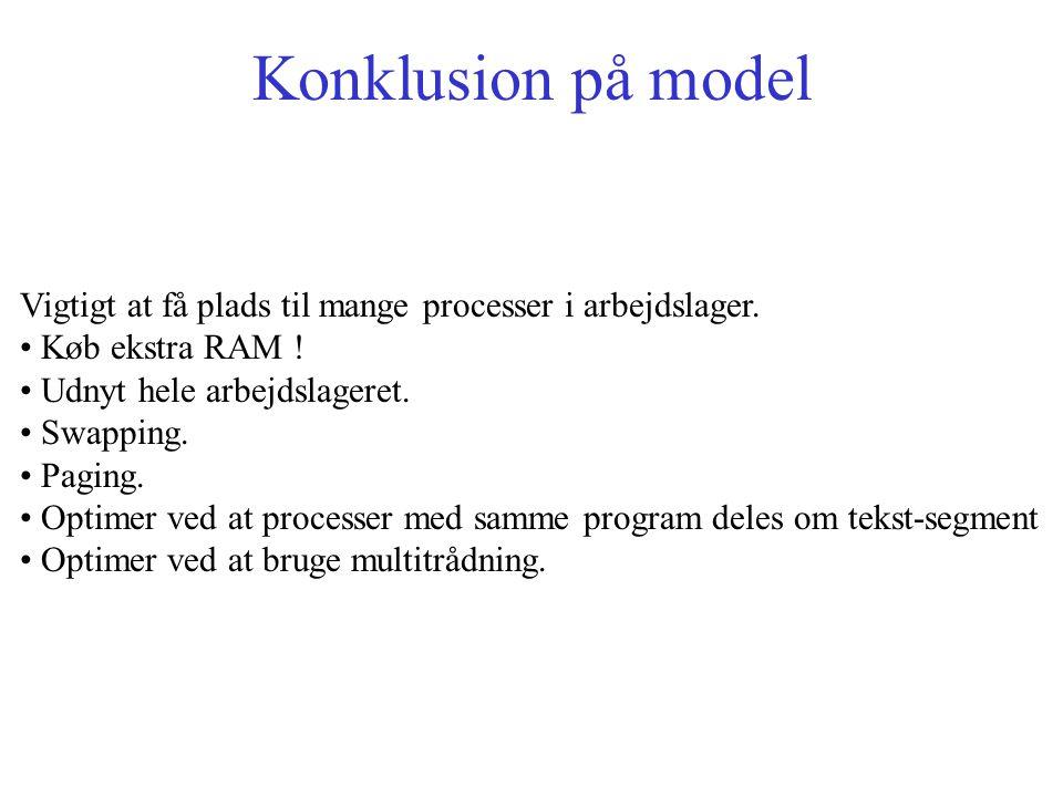 Konklusion på model Vigtigt at få plads til mange processer i arbejdslager.