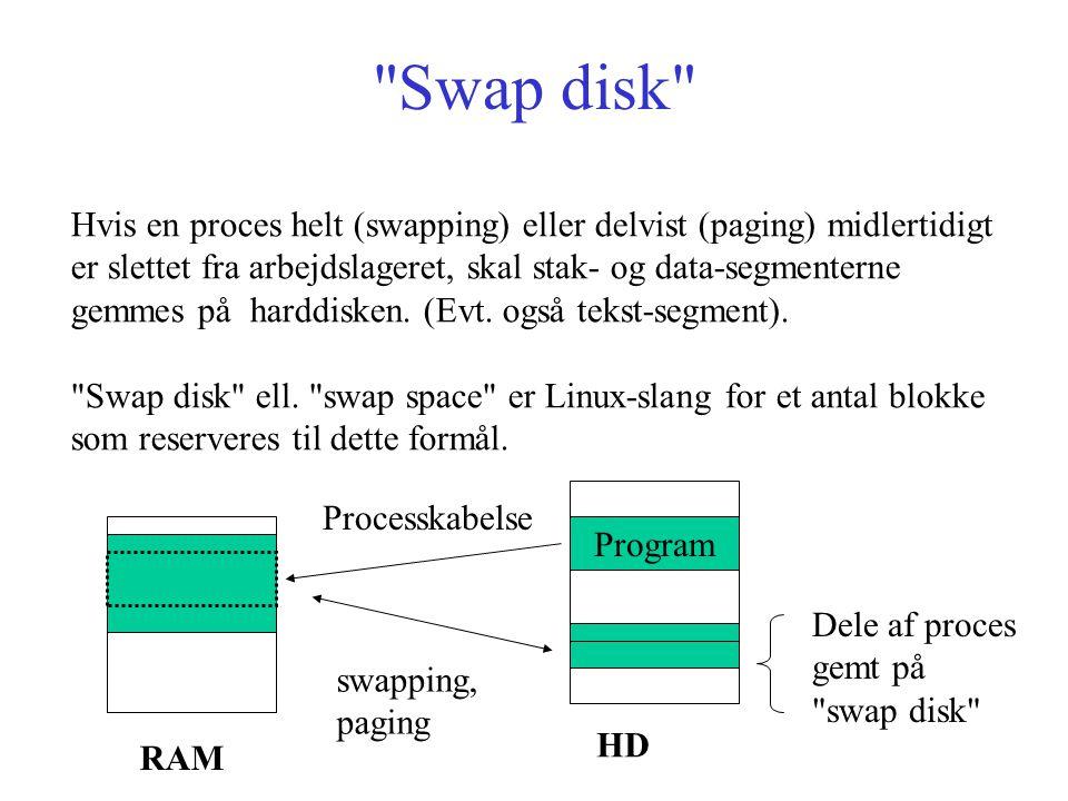 Swap disk Hvis en proces helt (swapping) eller delvist (paging) midlertidigt er slettet fra arbejdslageret, skal stak- og data-segmenterne gemmes på harddisken.