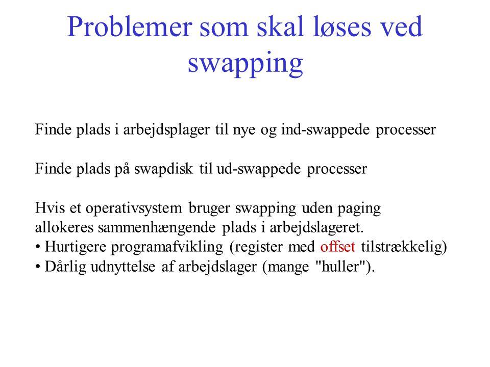 Problemer som skal løses ved swapping Finde plads i arbejdsplager til nye og ind-swappede processer Finde plads på swapdisk til ud-swappede processer Hvis et operativsystem bruger swapping uden paging allokeres sammenhængende plads i arbejdslageret.