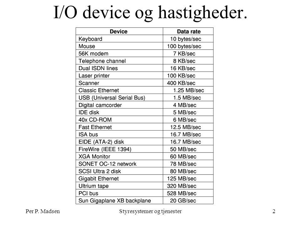 Per P. MadsenStyresystemer og tjenester2 I/O device og hastigheder.