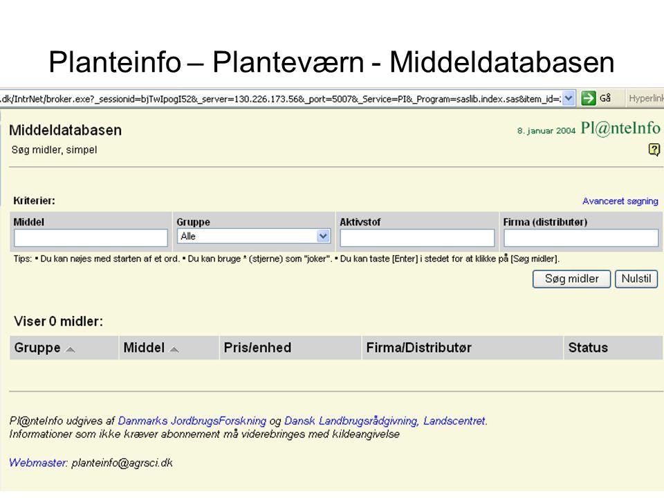 Planteinfo – Planteværn - Middeldatabasen