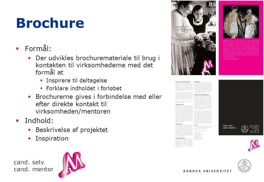 A A R H U S U N I V E R S I T E T Brochure  Formål:  Der udvikles brochuremateriale til brug i kontakten til virksomhederne med det formål at  Inspirere til deltagelse  Forklare indholdet i forløbet  Brochurerne gives i forbindelse med eller efter direkte kontakt til virksomheden/mentoren  Indhold:  Beskrivelse af projektet  Inspiration
