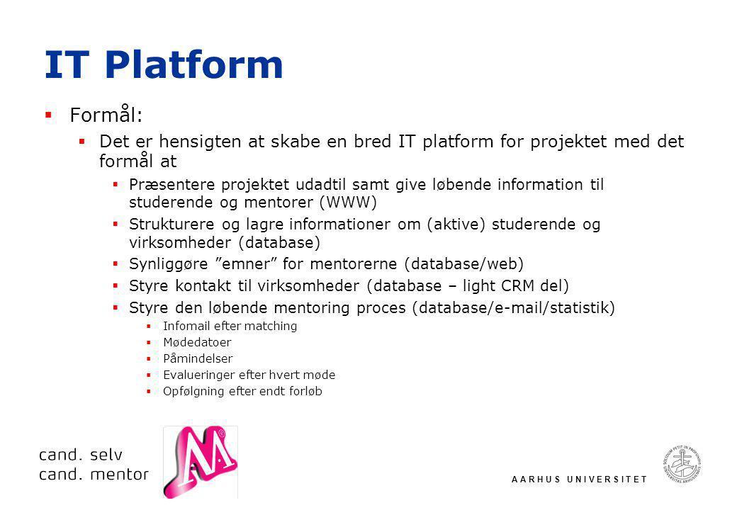 A A R H U S U N I V E R S I T E T IT Platform  Formål:  Det er hensigten at skabe en bred IT platform for projektet med det formål at  Præsentere projektet udadtil samt give løbende information til studerende og mentorer (WWW)  Strukturere og lagre informationer om (aktive) studerende og virksomheder (database)  Synliggøre emner for mentorerne (database/web)  Styre kontakt til virksomheder (database – light CRM del)  Styre den løbende mentoring proces (database/e-mail/statistik)  Infomail efter matching  Mødedatoer  Påmindelser  Evalueringer efter hvert møde  Opfølgning efter endt forløb