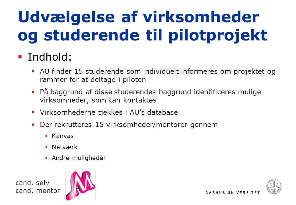 A A R H U S U N I V E R S I T E T Udvælgelse af virksomheder og studerende til pilotprojekt  Indhold:  AU finder 15 studerende som individuelt informeres om projektet og rammer for at deltage i piloten  På baggrund af disse studerendes baggrund identificeres mulige virksomheder, som kan kontaktes  Virksomhederne tjekkes i AU's database  Der rekrutteres 15 virksomheder/mentorer gennem  Kanvas  Netværk  Andre muligheder