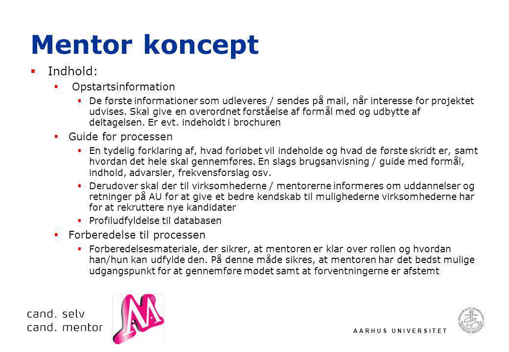 A A R H U S U N I V E R S I T E T Mentor koncept  Indhold:  Opstartsinformation  De første informationer som udleveres / sendes på mail, når interesse for projektet udvises.