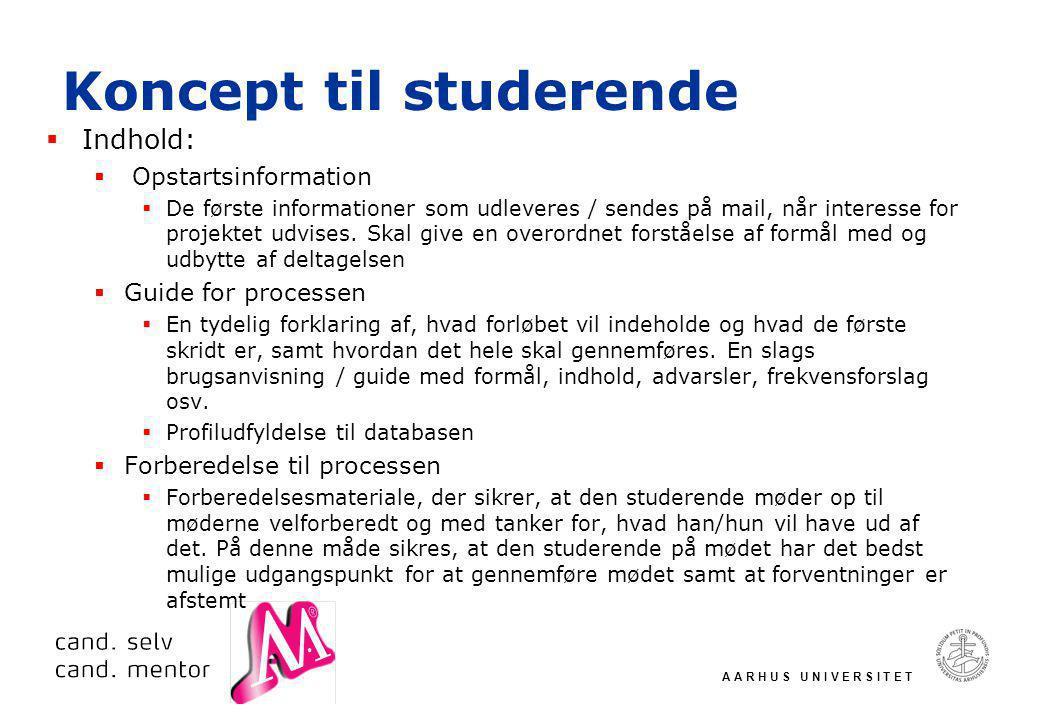 A A R H U S U N I V E R S I T E T Koncept til studerende  Indhold:  Opstartsinformation  De første informationer som udleveres / sendes på mail, når interesse for projektet udvises.