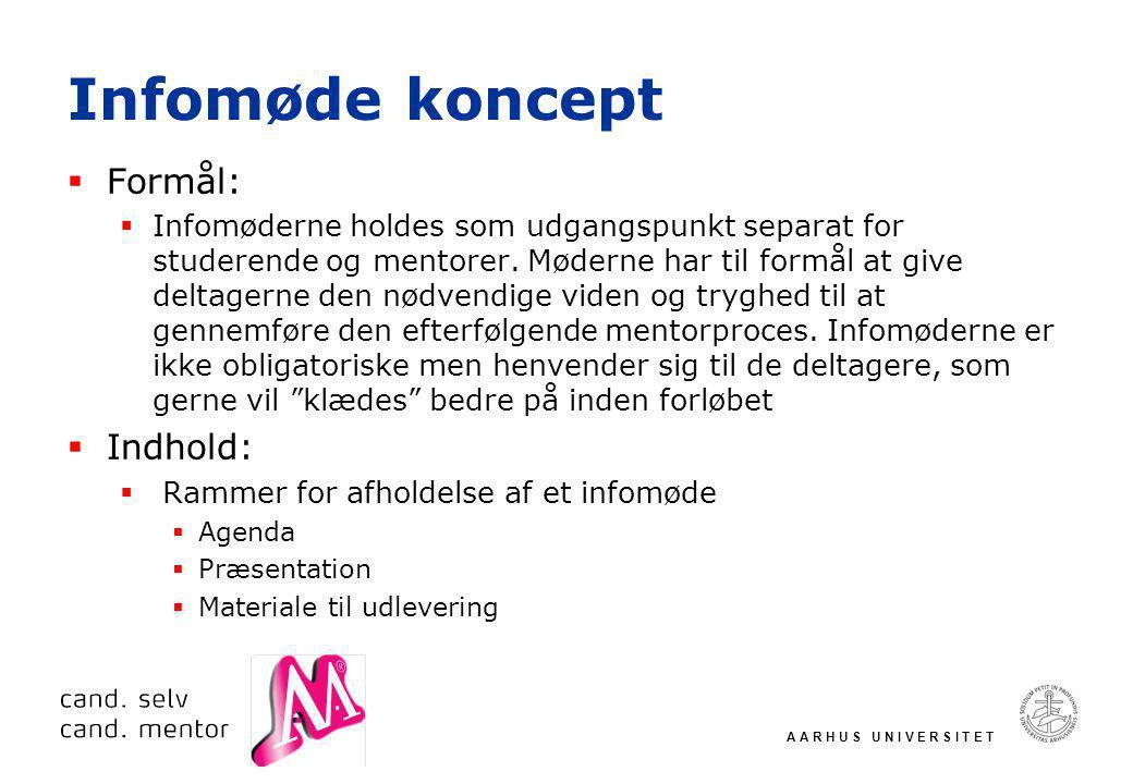 A A R H U S U N I V E R S I T E T Infomøde koncept  Formål:  Infomøderne holdes som udgangspunkt separat for studerende og mentorer.