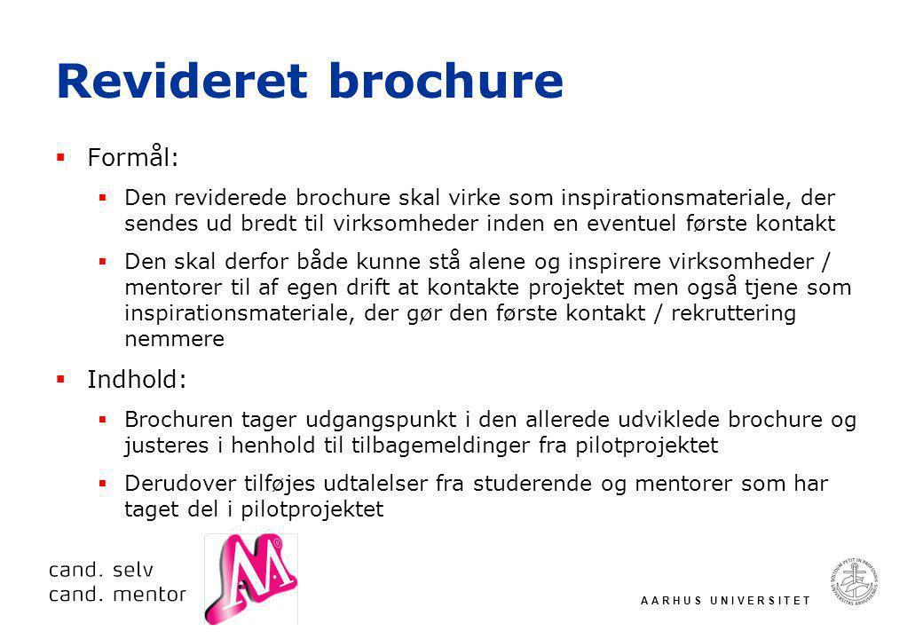 A A R H U S U N I V E R S I T E T Revideret brochure  Formål:  Den reviderede brochure skal virke som inspirationsmateriale, der sendes ud bredt til virksomheder inden en eventuel første kontakt  Den skal derfor både kunne stå alene og inspirere virksomheder / mentorer til af egen drift at kontakte projektet men også tjene som inspirationsmateriale, der gør den første kontakt / rekruttering nemmere  Indhold:  Brochuren tager udgangspunkt i den allerede udviklede brochure og justeres i henhold til tilbagemeldinger fra pilotprojektet  Derudover tilføjes udtalelser fra studerende og mentorer som har taget del i pilotprojektet