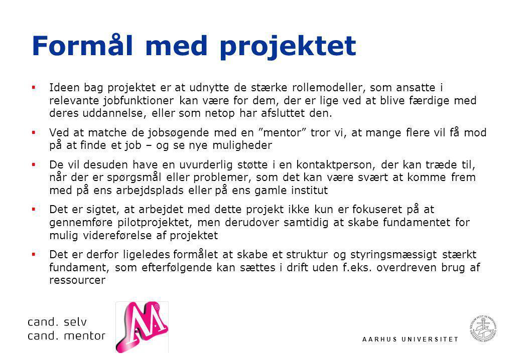 A A R H U S U N I V E R S I T E T Formål med projektet  Ideen bag projektet er at udnytte de stærke rollemodeller, som ansatte i relevante jobfunktioner kan være for dem, der er lige ved at blive færdige med deres uddannelse, eller som netop har afsluttet den.