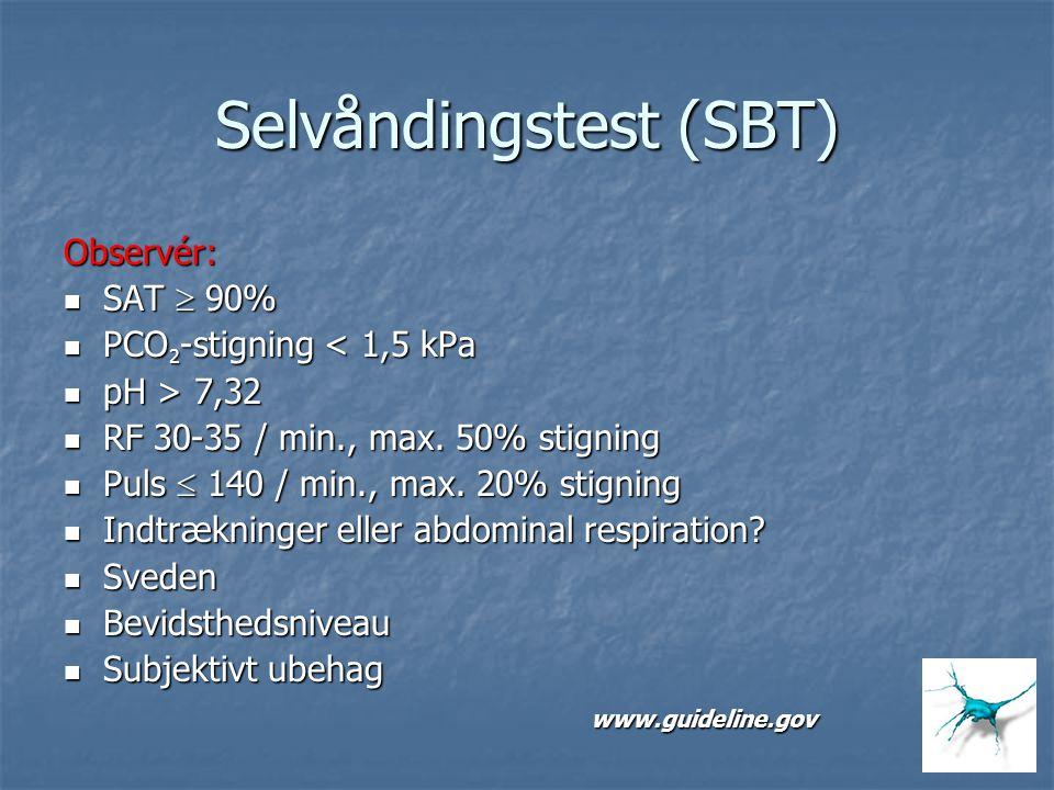 Selvåndingstest (SBT) Observér: SAT  90% SAT  90% PCO 2 -stigning < 1,5 kPa PCO 2 -stigning < 1,5 kPa pH > 7,32 pH > 7,32 RF 30-35 / min., max. 50%