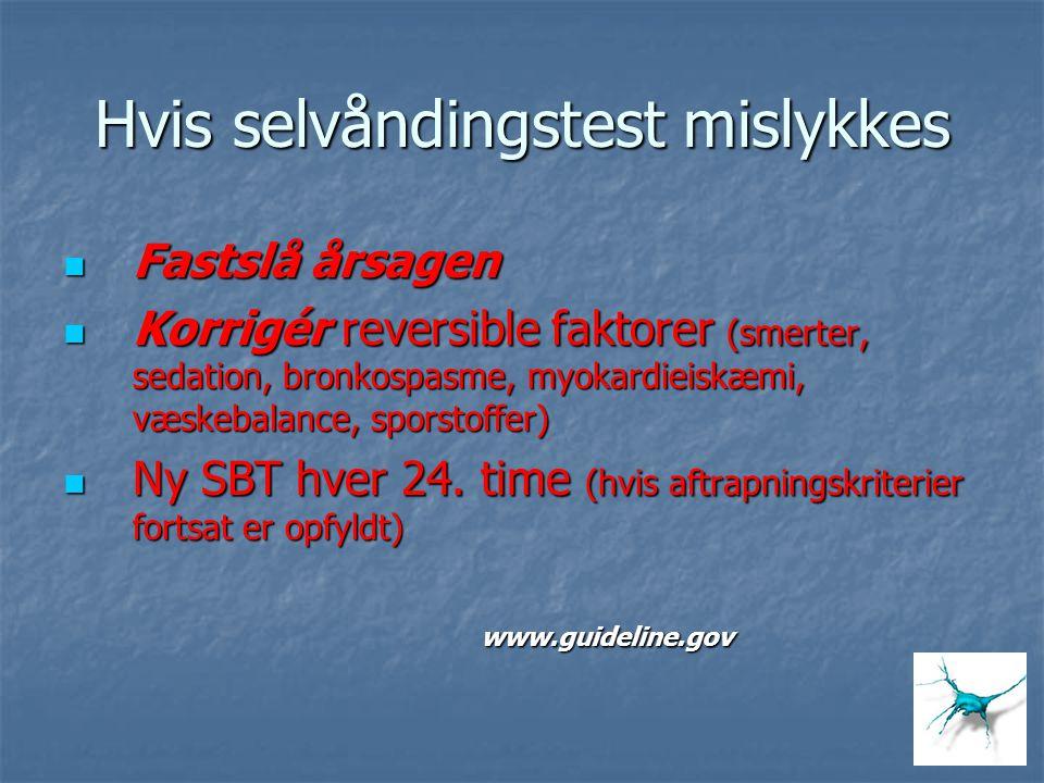 Hvis selvåndingstest mislykkes Fastslå årsagen Fastslå årsagen Korrigér reversible faktorer (smerter, sedation, bronkospasme, myokardieiskæmi, væskeba