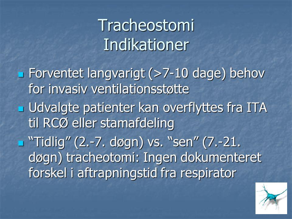 Tracheostomi Indikationer Forventet langvarigt (>7-10 dage) behov for invasiv ventilationsstøtte Forventet langvarigt (>7-10 dage) behov for invasiv v
