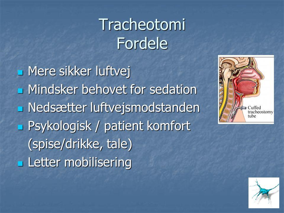 Tracheotomi Fordele Mere sikker luftvej Mere sikker luftvej Mindsker behovet for sedation Mindsker behovet for sedation Nedsætter luftvejsmodstanden N