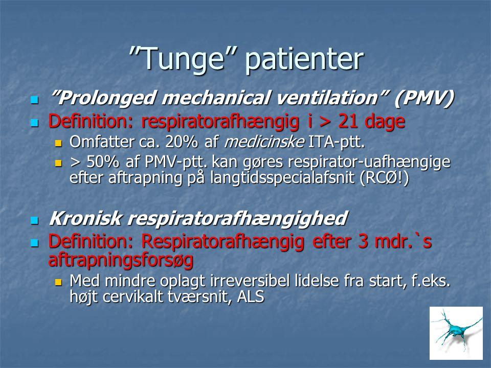 """Tunge"" patienter ""Prolonged mechanical ventilation"" (PMV) ""Prolonged mechanical ventilation"" (PMV) Definition: respiratorafhængig i > 21 dage Definit"