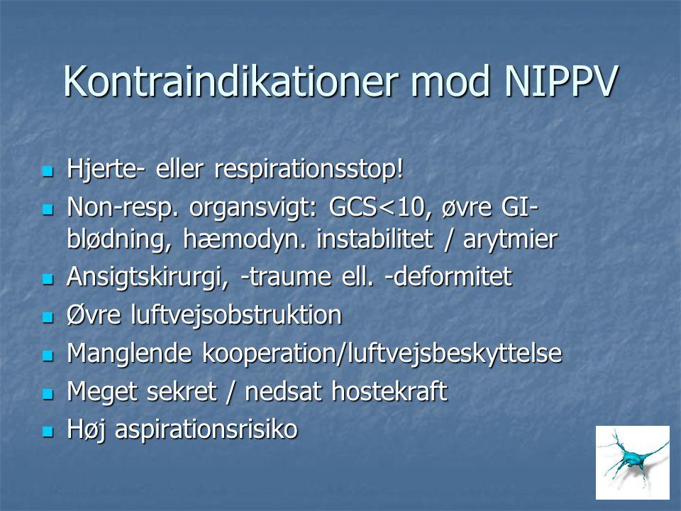 Kontraindikationer mod NIPPV Hjerte- eller respirationsstop! Hjerte- eller respirationsstop! Non-resp. organsvigt: GCS<10, øvre GI- blødning, hæmodyn.