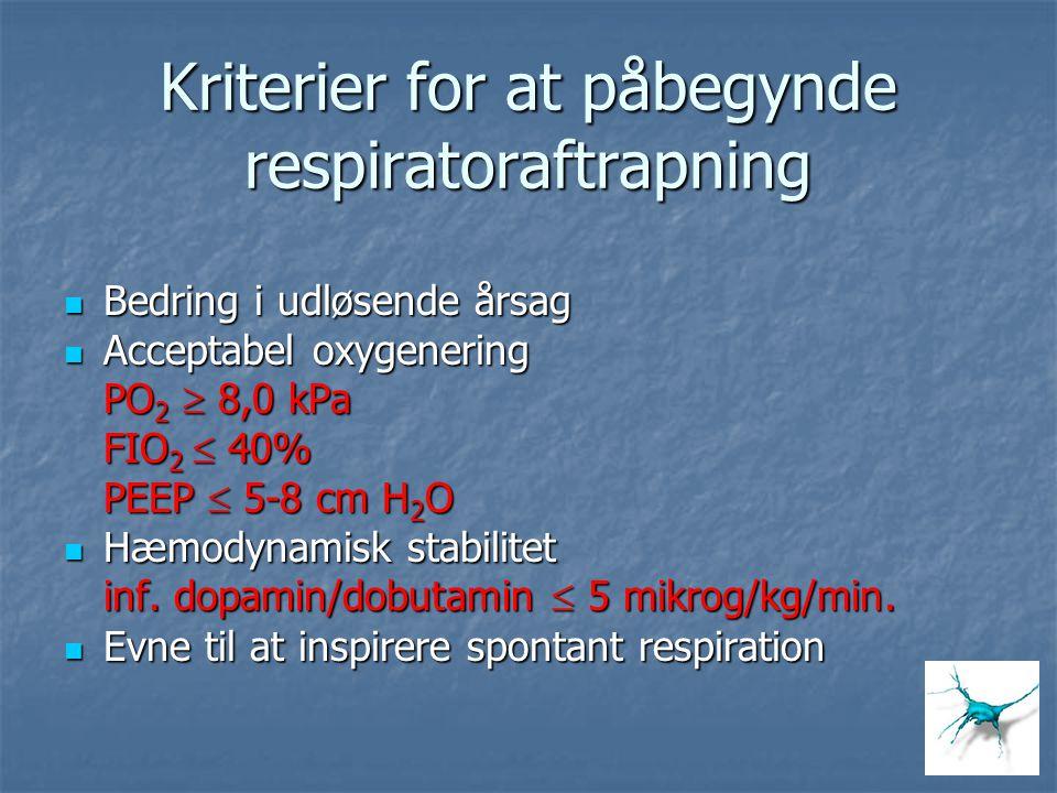 Kriterier for at påbegynde respiratoraftrapning Bedring i udløsende årsag Bedring i udløsende årsag Acceptabel oxygenering Acceptabel oxygenering PO 2