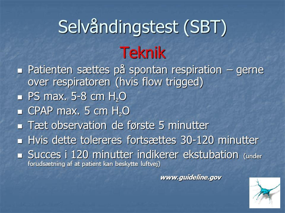 Selvåndingstest (SBT) Teknik Patienten sættes på spontan respiration – gerne over respiratoren (hvis flow trigged) Patienten sættes på spontan respira