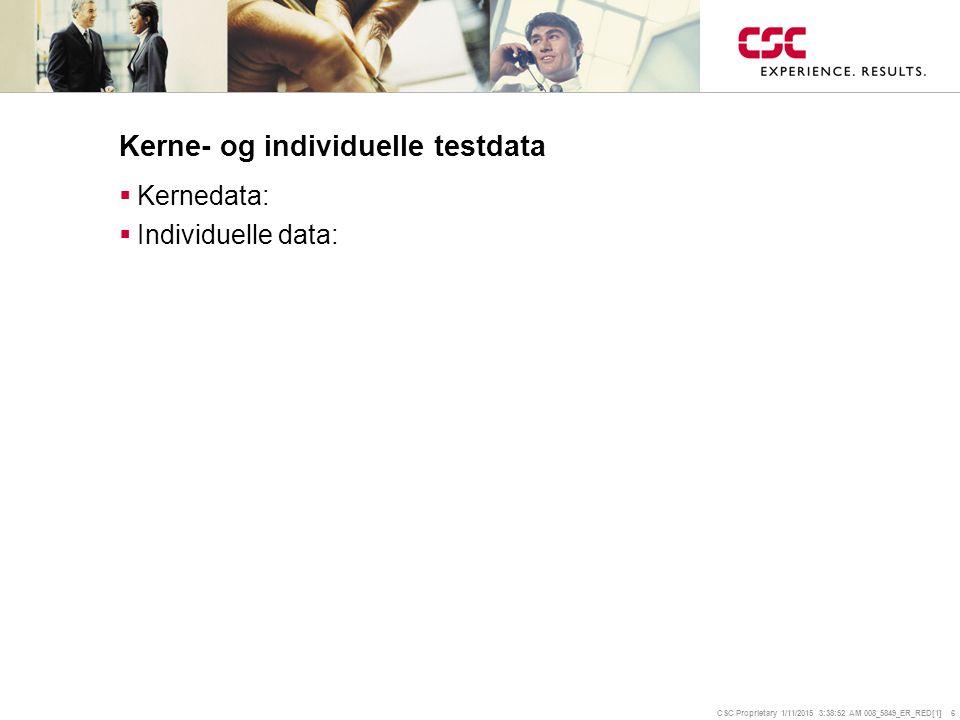 CSC Proprietary 1/11/2015 3:39:14 AM 008_5849_ER_RED[1] 6 Kerne- og individuelle testdata  Kernedata:  Individuelle data: