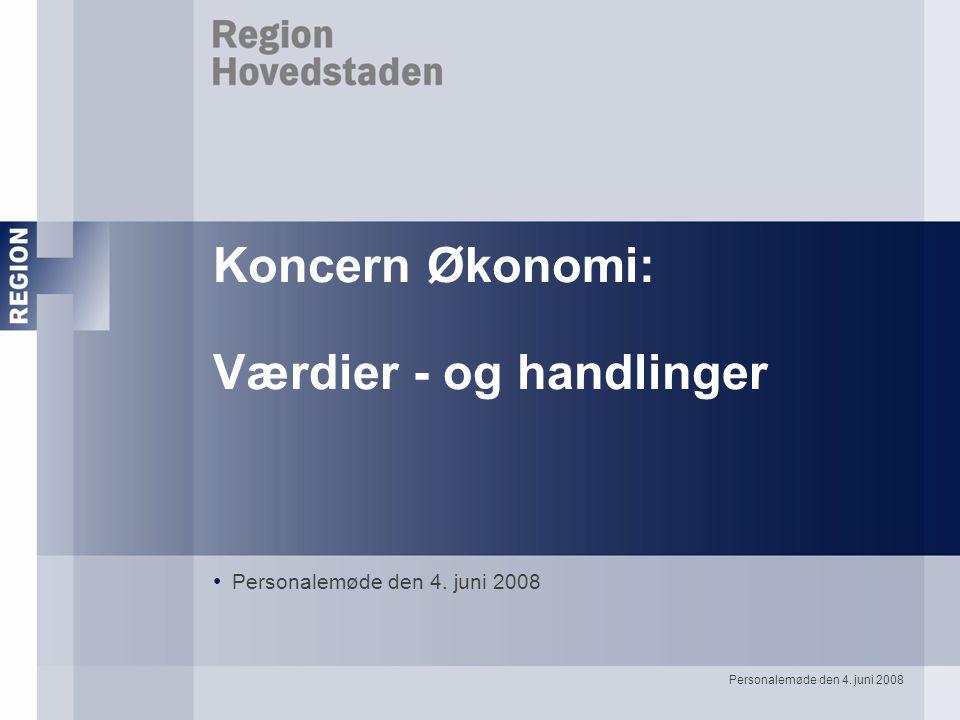 Personalemøde den 4. juni 2008 Koncern Økonomi: Værdier - og handlinger Personalemøde den 4.