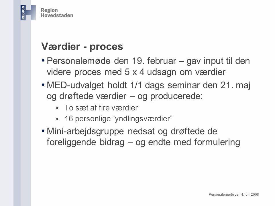 Værdier - proces Personalemøde den 19.