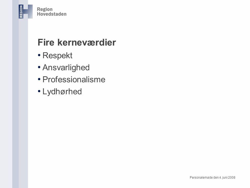 Personalemøde den 4. juni 2008 Fire kerneværdier Respekt Ansvarlighed Professionalisme Lydhørhed