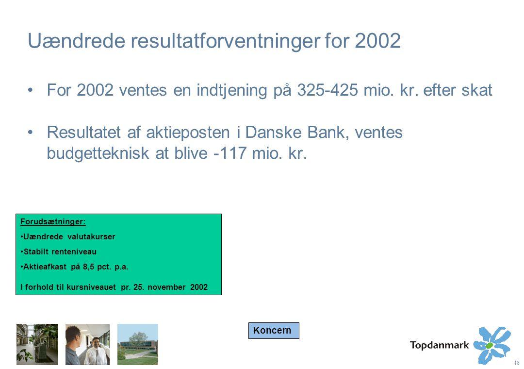 18 Uændrede resultatforventninger for 2002 For 2002 ventes en indtjening på 325-425 mio.