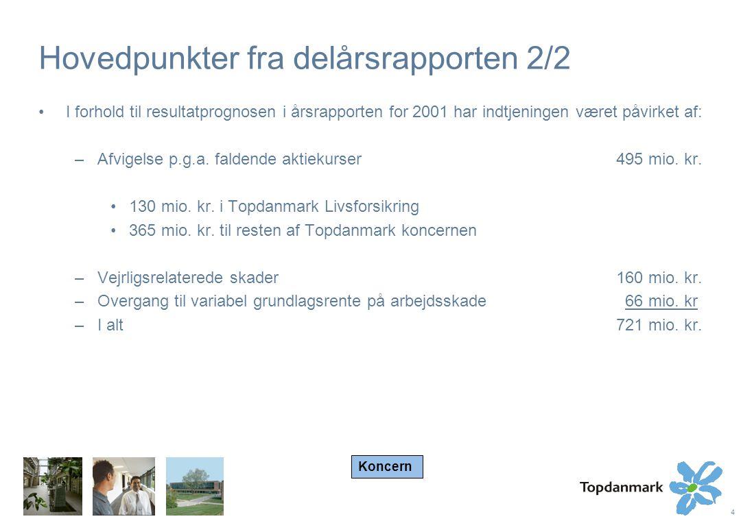 4 Hovedpunkter fra delårsrapporten 2/2 I forhold til resultatprognosen i årsrapporten for 2001 har indtjeningen været påvirket af: –Afvigelse p.g.a.