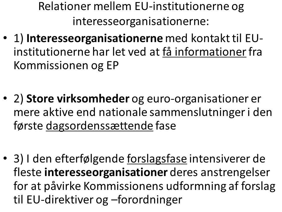 Relationer mellem EU-institutionerne og interesseorganisationerne: 1) Interesseorganisationerne med kontakt til EU- institutionerne har let ved at få informationer fra Kommissionen og EP 2) Store virksomheder og euro-organisationer er mere aktive end nationale sammenslutninger i den første dagsordenssættende fase 3) I den efterfølgende forslagsfase intensiverer de fleste interesseorganisationer deres anstrengelser for at påvirke Kommissionens udformning af forslag til EU-direktiver og –forordninger