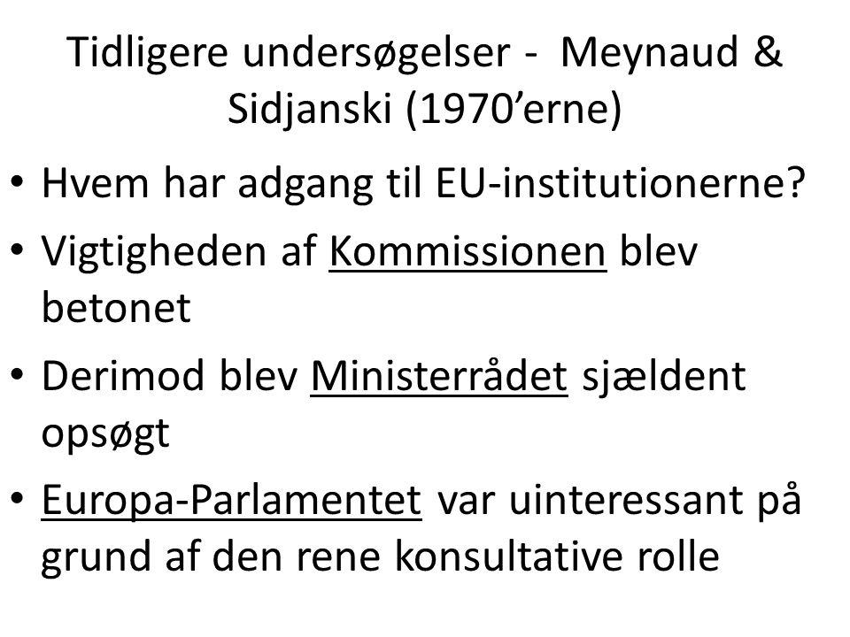 Tidligere undersøgelser - Meynaud & Sidjanski (1970'erne) Hvem har adgang til EU-institutionerne.
