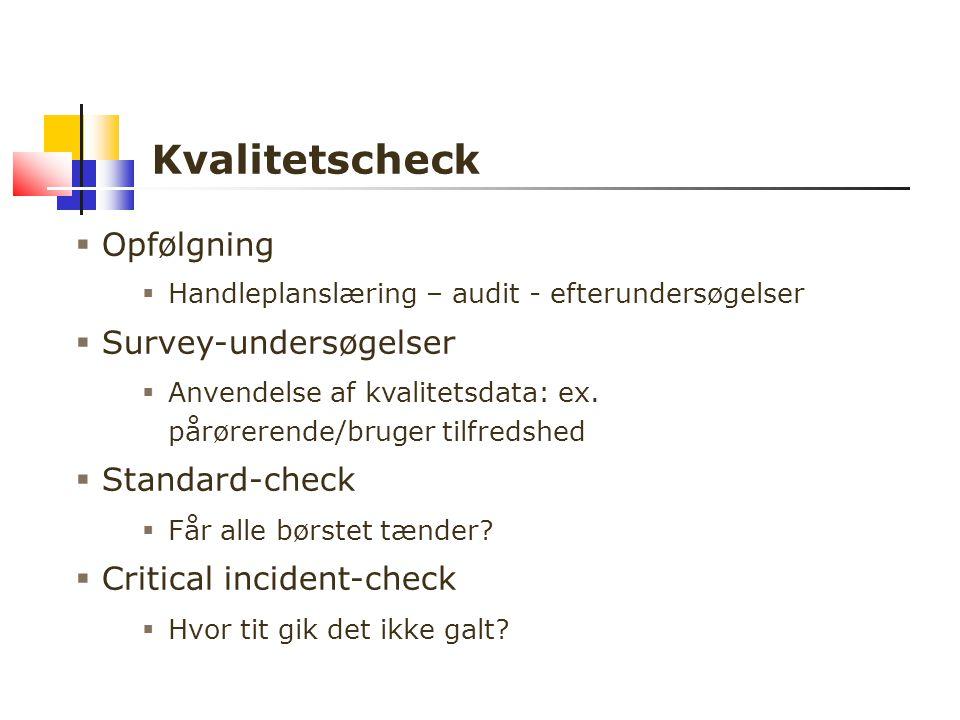 Kvalitetscheck  Opfølgning  Handleplanslæring – audit - efterundersøgelser  Survey-undersøgelser  Anvendelse af kvalitetsdata: ex.