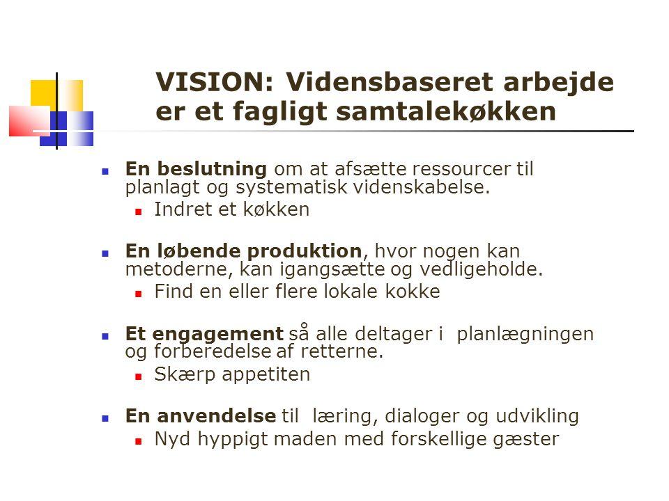 VISION: Vidensbaseret arbejde er et fagligt samtalekøkken En beslutning om at afsætte ressourcer til planlagt og systematisk videnskabelse.