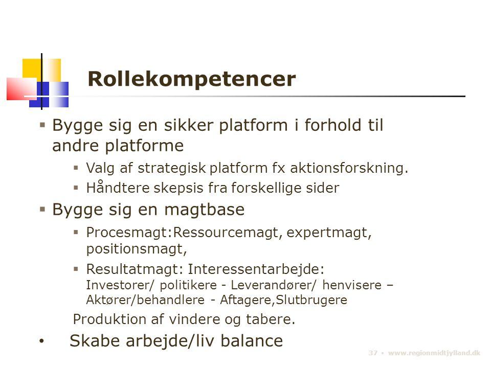 37 ▪ www.regionmidtjylland.dk Rollekompetencer  Bygge sig en sikker platform i forhold til andre platforme  Valg af strategisk platform fx aktionsforskning.