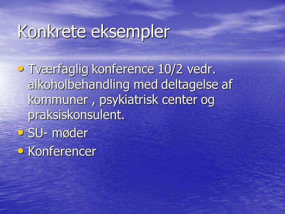 Konkrete eksempler Tværfaglig konference 10/2 vedr.
