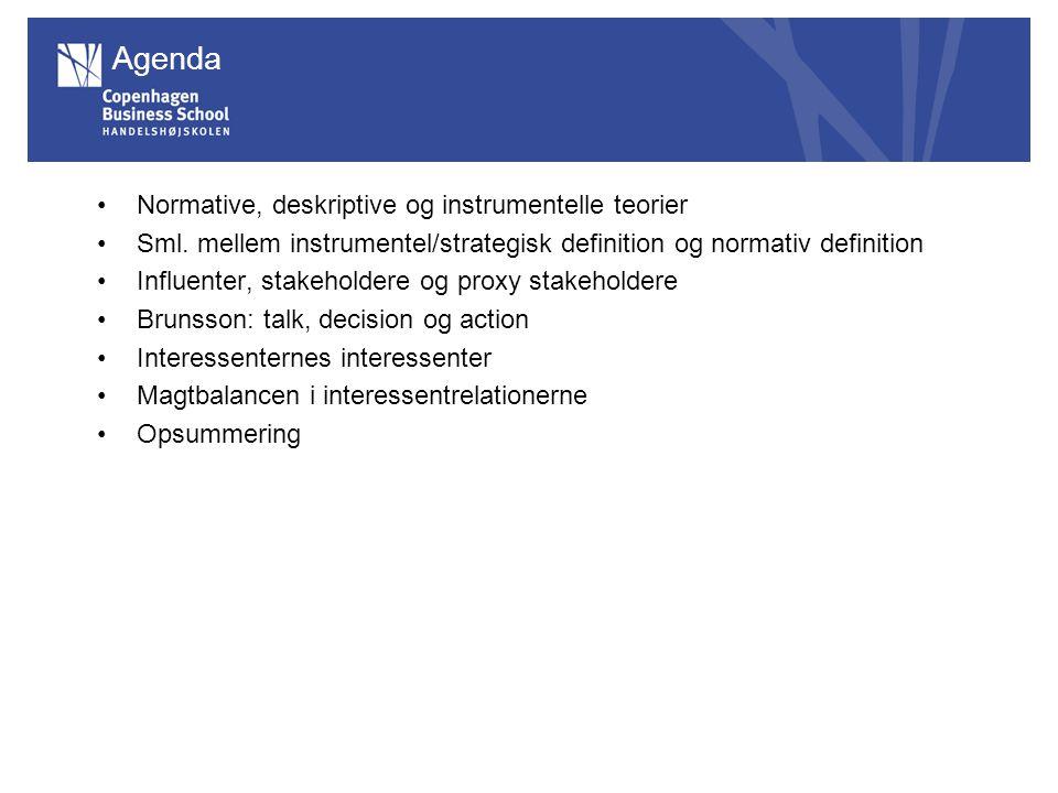 Agenda Normative, deskriptive og instrumentelle teorier Sml.