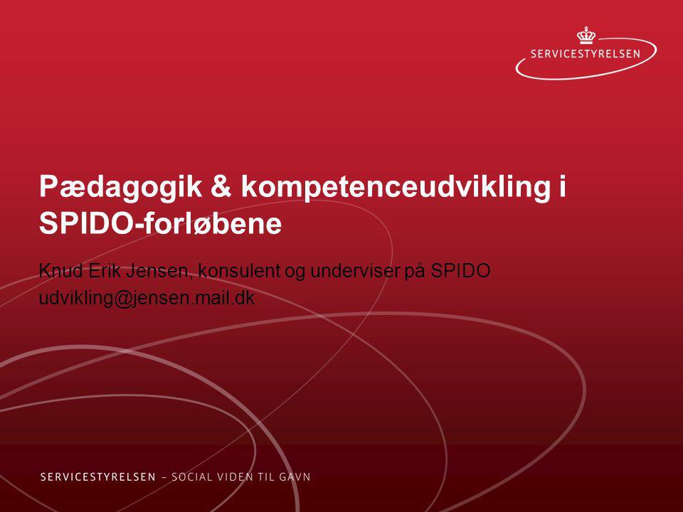 Pædagogik & kompetenceudvikling i SPIDO-forløbene Knud Erik Jensen, konsulent og underviser på SPIDO udvikling@jensen.mail.dk