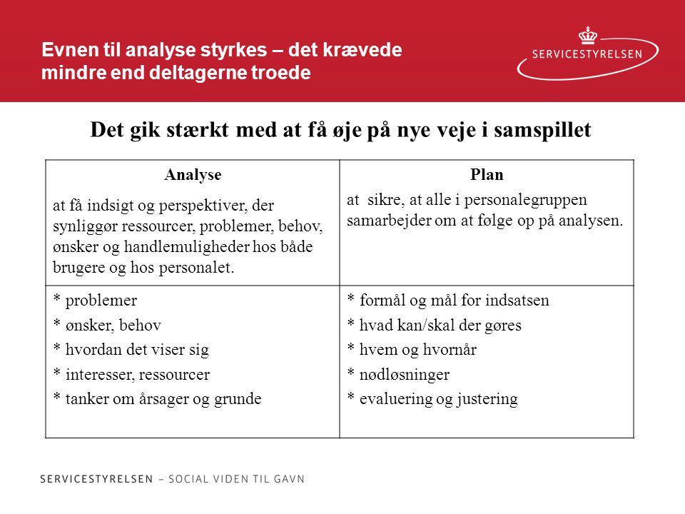 Evnen til analyse styrkes – det krævede mindre end deltagerne troede Analyse at få indsigt og perspektiver, der synliggør ressourcer, problemer, behov, ønsker og handlemuligheder hos både brugere og hos personalet.
