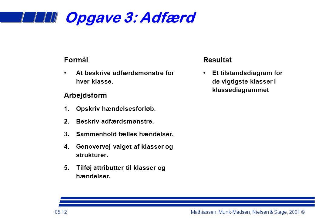 05.12 Mathiassen, Munk-Madsen, Nielsen & Stage, 2001 © Opgave 3: Adfærd Formål At beskrive adfærdsmønstre for hver klasse.