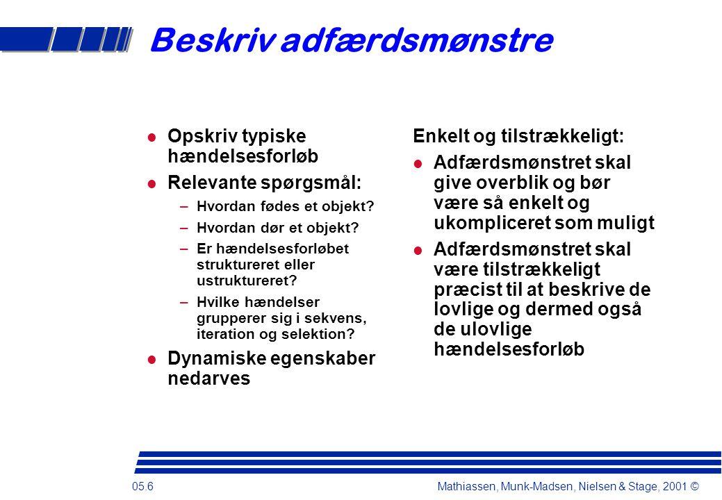 05.6 Mathiassen, Munk-Madsen, Nielsen & Stage, 2001 © Beskriv adfærdsmønstre Opskriv typiske hændelsesforløb Relevante spørgsmål: –Hvordan fødes et objekt.