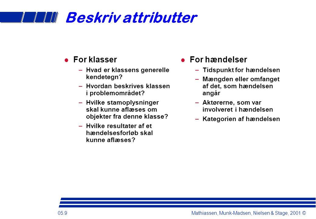 05.9 Mathiassen, Munk-Madsen, Nielsen & Stage, 2001 © Beskriv attributter For klasser –Hvad er klassens generelle kendetegn.