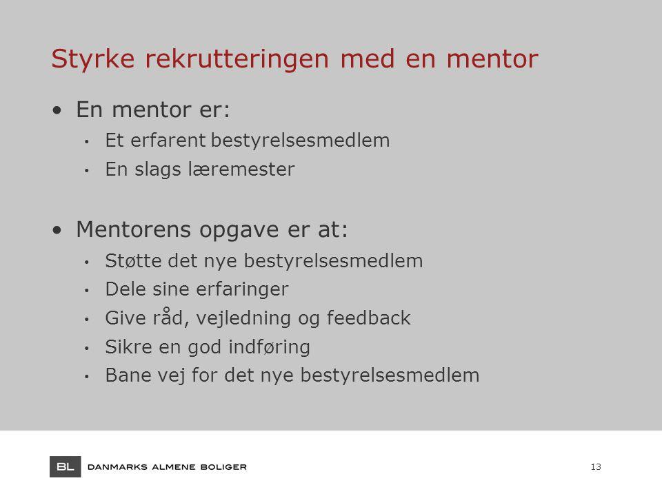 13 Styrke rekrutteringen med en mentor En mentor er: Et erfarent bestyrelsesmedlem En slags læremester Mentorens opgave er at: Støtte det nye bestyrelsesmedlem Dele sine erfaringer Give råd, vejledning og feedback Sikre en god indføring Bane vej for det nye bestyrelsesmedlem