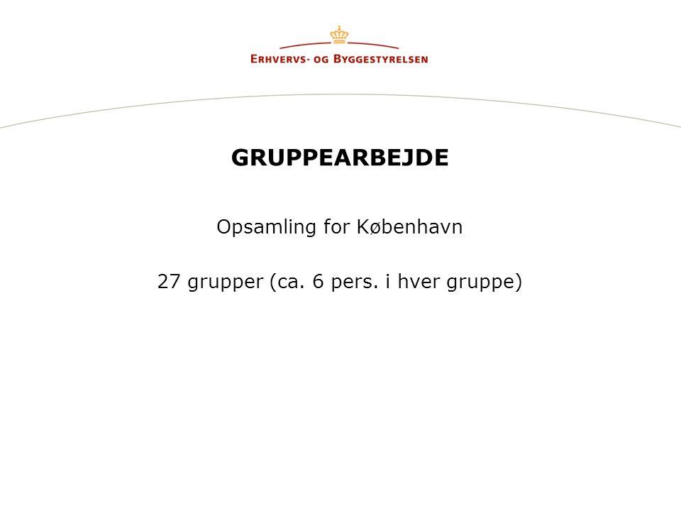 GRUPPEARBEJDE Opsamling for København 27 grupper (ca. 6 pers. i hver gruppe)