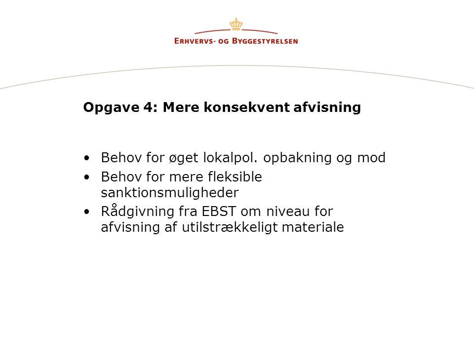 Opgave 4: Mere konsekvent afvisning Behov for øget lokalpol.