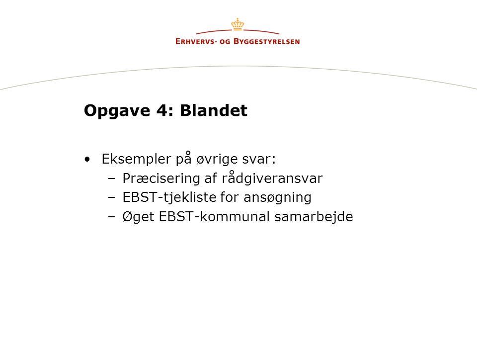 Opgave 4: Blandet Eksempler på øvrige svar: –Præcisering af rådgiveransvar –EBST-tjekliste for ansøgning –Øget EBST-kommunal samarbejde