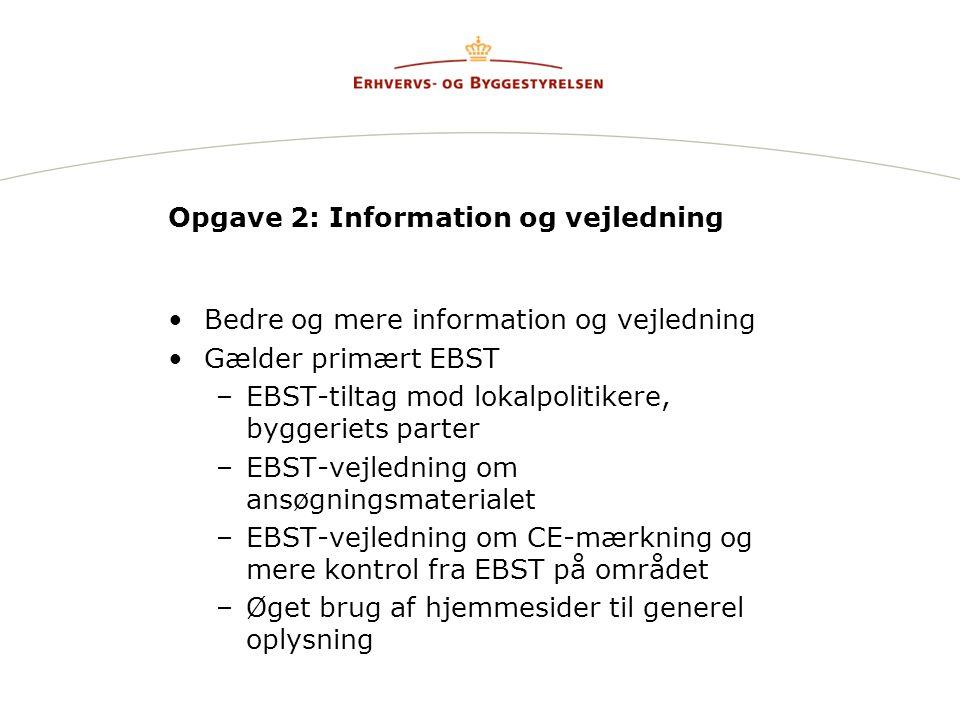 Opgave 2: Information og vejledning Bedre og mere information og vejledning Gælder primært EBST –EBST-tiltag mod lokalpolitikere, byggeriets parter –EBST-vejledning om ansøgningsmaterialet –EBST-vejledning om CE-mærkning og mere kontrol fra EBST på området –Øget brug af hjemmesider til generel oplysning