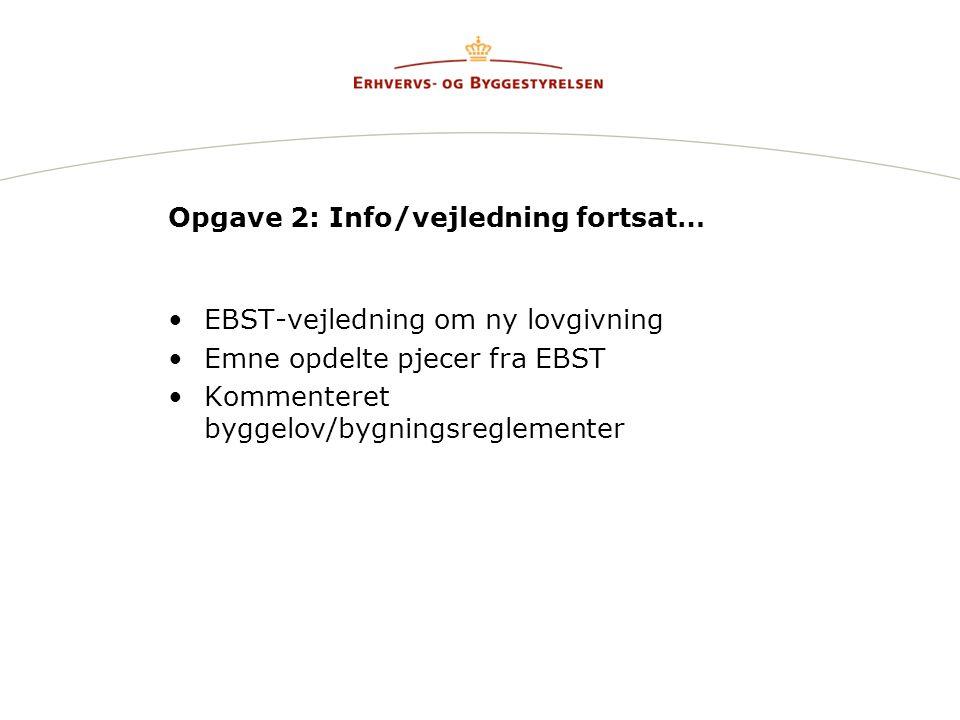 Opgave 2: Info/vejledning fortsat… EBST-vejledning om ny lovgivning Emne opdelte pjecer fra EBST Kommenteret byggelov/bygningsreglementer
