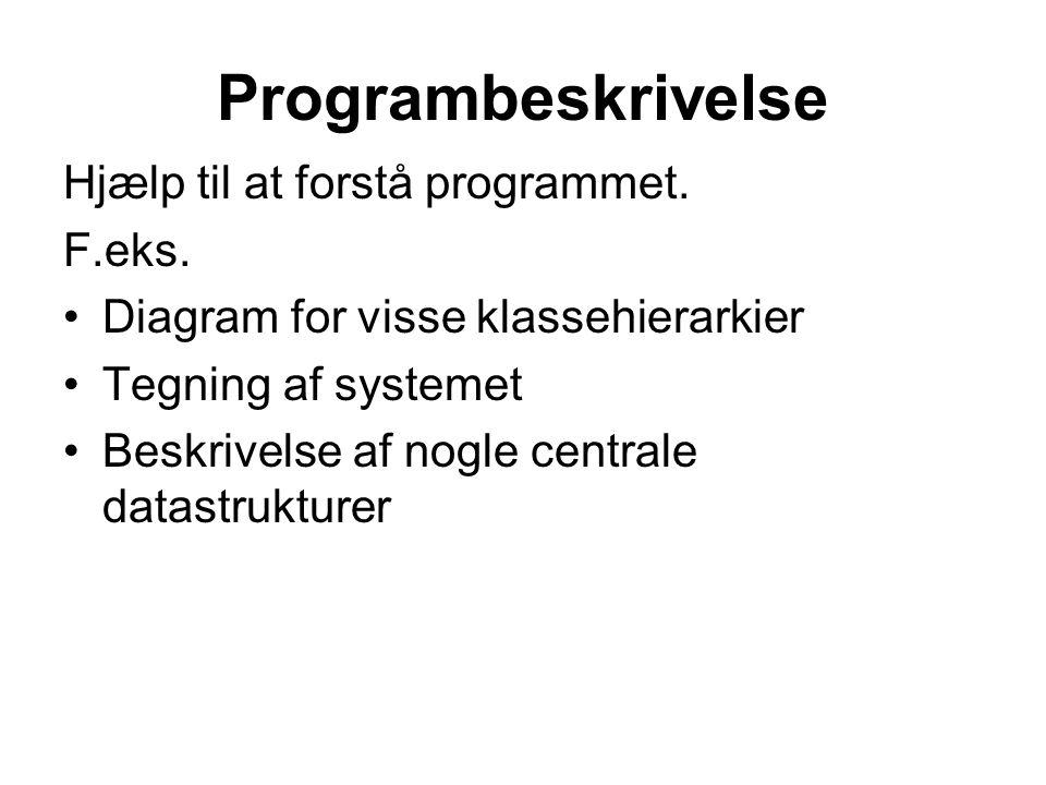 Programbeskrivelse Hjælp til at forstå programmet.