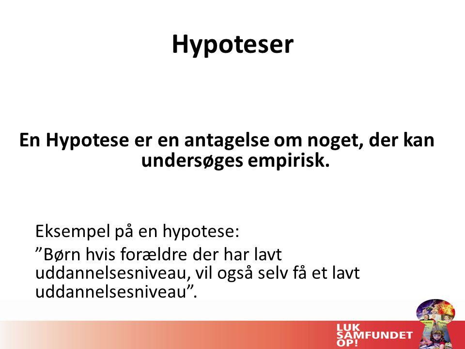 Hypoteser En Hypotese er en antagelse om noget, der kan undersøges empirisk.
