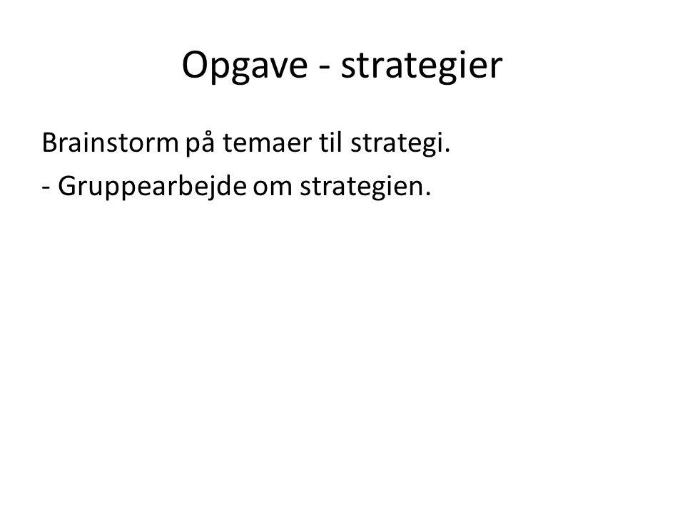 Opgave - strategier Brainstorm på temaer til strategi. - Gruppearbejde om strategien.