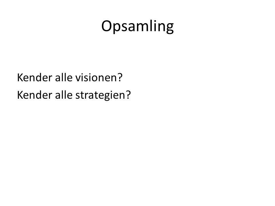 Opsamling Kender alle visionen Kender alle strategien