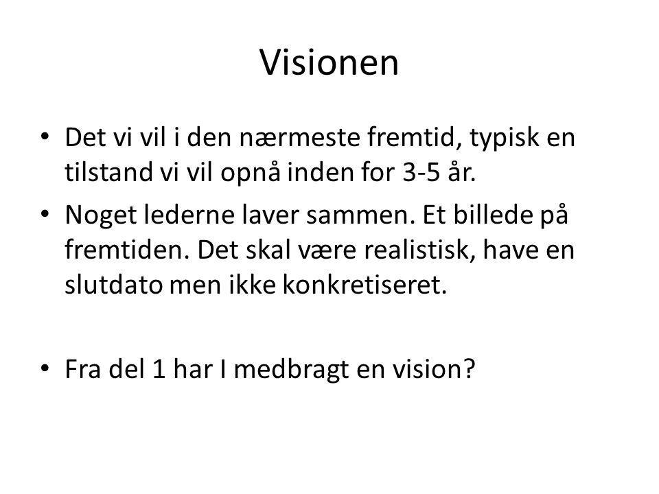 Visionen Det vi vil i den nærmeste fremtid, typisk en tilstand vi vil opnå inden for 3-5 år.